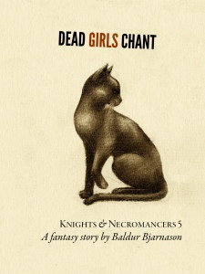 The cover of the fifth book in the Knights an Necromancers series, a charcoal sketch of a cat