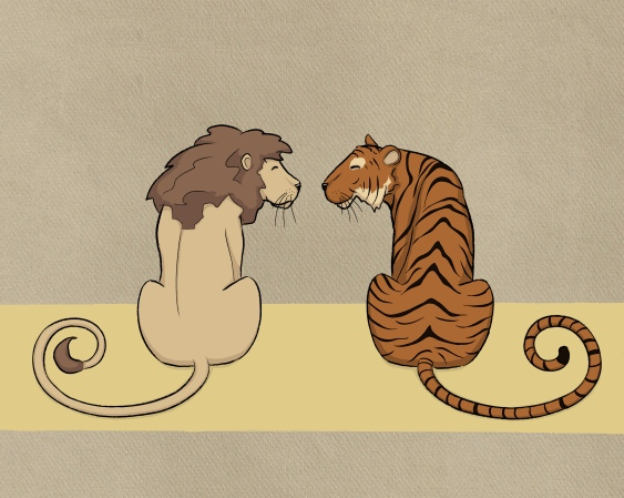A drawing of the Cowardly Lion and the Hungry Tiger facing each other.