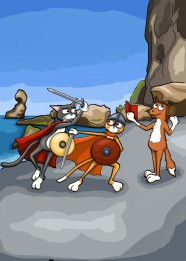 The cats are dressed up as vikings